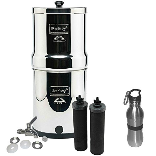 Take Berkey Water Filter Stainless Steel Bundle: 2 Black Filters, Stainless Steel Spigot, 1 Stainless Steel Water Mettle (1.5 Gallon Travel Berkey)