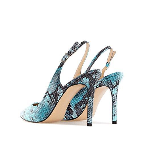 EDEFS - Zapatos con correa de tobillo Mujer Python-blue