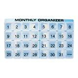 31 compartments, 1 per Day, 4 Week Monthly Pill Organizer by Promed. Includes Tray and 8 Removable compartments. (Blue)