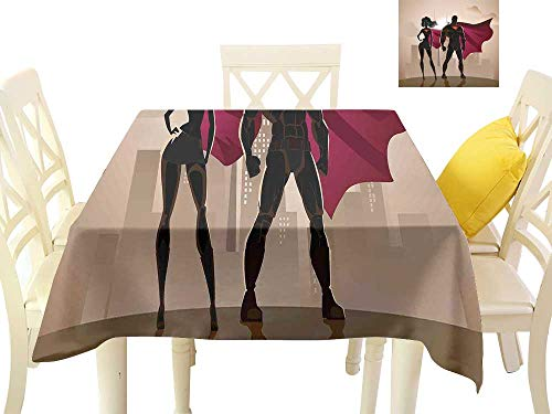 cobeDecor Elegant Waterproof Spillproof Polyester Fabric Table Cover Super Woman and Man Heroes in City Solving Crime Hot Couple in Costume W36 x L36, Indoor Outdoor Camping Picnic ()