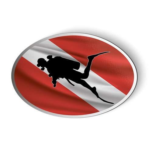 AK Wall Art Scuba Diver Flag Oval - Magnet - Car Fridge Locker - Select Size