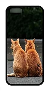 iPhone 5 5S Case Two Cute Cats In Love Standing On The Road TPU Custom iPhone 5 5S Case Cover Black