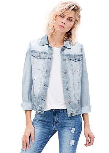 Denim Nylon Coat - Women Junior Classic 4 Pockets Denim JacketJK175594X Bleach 2X