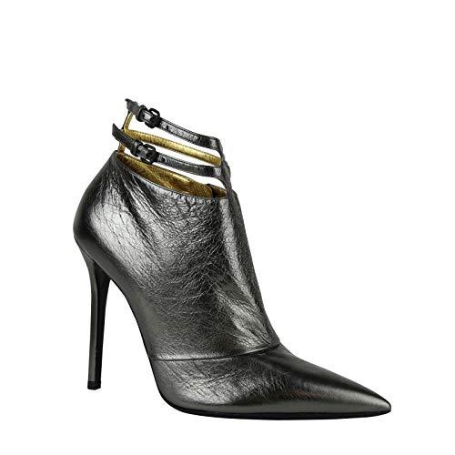 Bottega Veneta Grey Ankle Metallic Leather Heels with Straps 443165 1117 (G 38.5 / US 8.5)