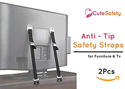 Cutesafety TV and Furniture Metal Safety Strap - Anti Tip Heavy Duty Baby Proofing Anchors for Wall Mount Flat Screen TV's, Dresser, Cabinet, Bookshelf, Wardrobe - Earthquake Security - 2 Pack