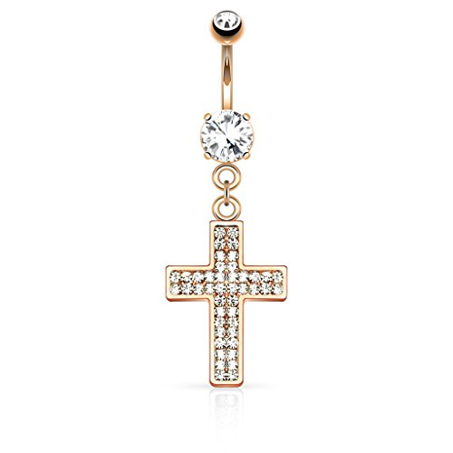 - Pierced Owl Crystal Paved Cross Dangling Belly Button Ring (Rose Gold Tone)