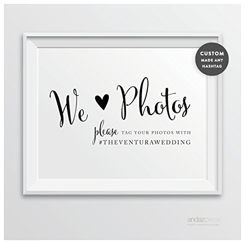 Andaz Press Personalized Wedding Party Signs, Formal Black and White, 8.5-inch x 11-inch, We Heart Photos, Please Tag Your Photos, 1-Pack, CUSTOM MADE Any (Rustic Heart Table D Cor)