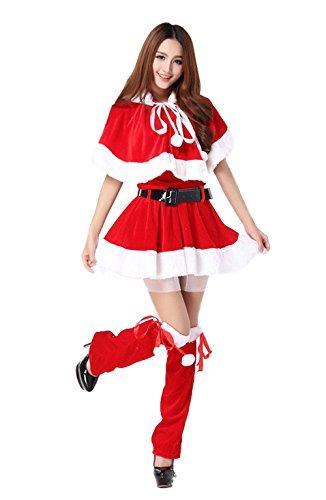 Mrs Santa Costume Xxl (Mrs. Claus Costume Nuoqi Women's Red Miss Santa Cosplay Costume)