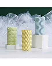 Silicone Mold 3d Cylinder Shape Candle Molds with Texture for Diy Gift Scented Candle Craft Making Wax Decoration White Style2