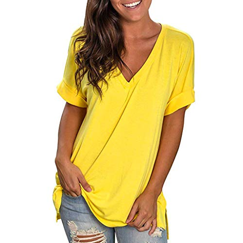 Mebamook Women's Scoop Neck A-Line Tunic Blouse Striped Off Shoulder Bell Sleeve Shirt Tie Knot Casual Blouses Yellow