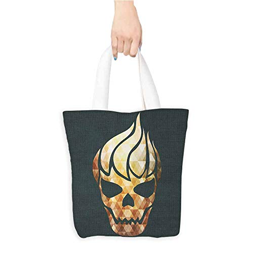 Washable Grocery Tote with Pouch,Modern,Gothic Skull with Fractal Effects in Fire Evil Halloween Concept,Canvas Grocery Shopping Bags with Handles,Yellow Light Caramel Dark -