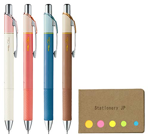 Pentel EnerGel Clena Retractable Liquid Gel Pen, Micro Fine Point 0.3mm Needle Tip, 4 Colors Ink, 5-Pack, Sticky Notes Value Set