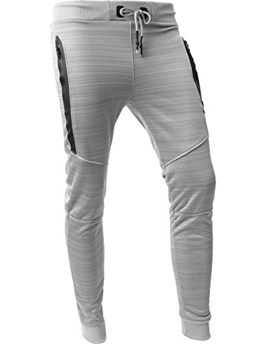 Hat and Beyond VW Mens Jogger Pants Biker Slim Fit Casual Fleece Active Elastic (P101_Gray,Medium)