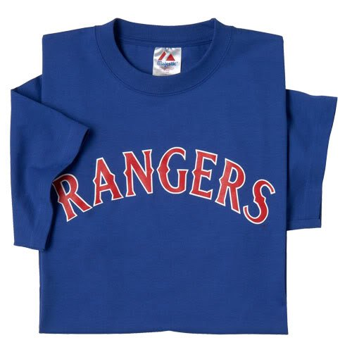 Texas Rangers (YOUTH MEDIUM) 100% Cotton Crewneck MLB Officially Licensed Majestic Major League Baseball Replica T-Shirt Jersey