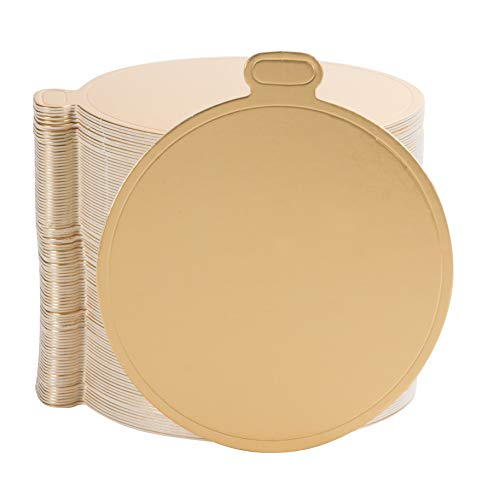 Mini Cake Boards - 100-Pack Metallic Gold 3.5-Inch Round Base for Single Serve Sweets, Plain Blank Design, Ideal for Dessert Buffet, Wedding, Parties, Catering Supplies ()