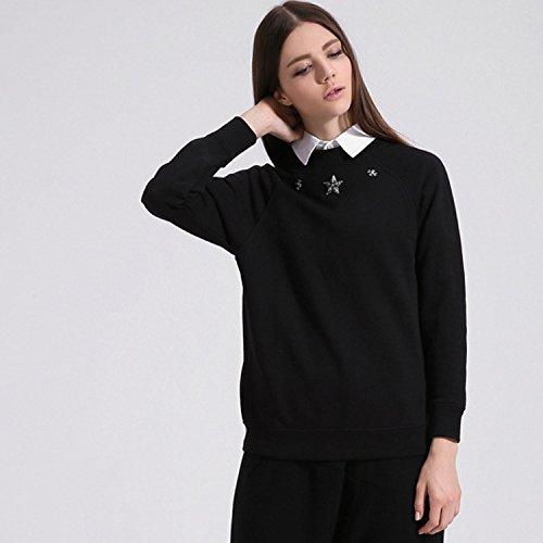 YLSZ-White hoodies women loose T-shirt cotton long sleeved white Pentacle hoodies,black,L
