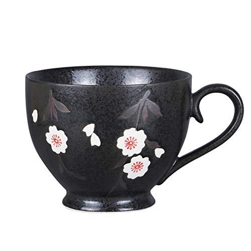 Asnwo Large Black Soup Bowl Mug Unique Elegant Japanese Ceramic Coffee Mugs Tea Cup for Women 14 oz