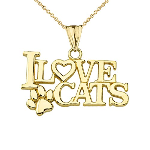 Elegant I Love Cats Charm Pendant Necklace in 14k Yellow Gold, 20