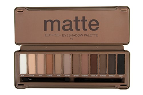 BYS 12 Shade Matte Eyeshadow Palette Tin Collection with Mirror, Double Ended Applicator and Blender, Nude and Smoke by BYS