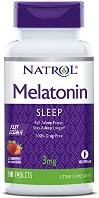 Natrol Melatonin Fast Dissolve Tablets, Helps You Fall Asleep Faster, Stay Asleep Longer, Easy to Take, Dissolves in Mouth, Faster Absorption, 3mg, 90 Count