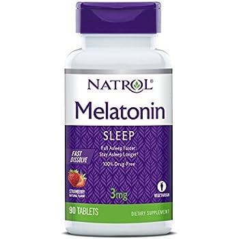 Natrol Melatonin Fast Dissolve Tablets, Strawberry flavor, 3mg, 90 Count