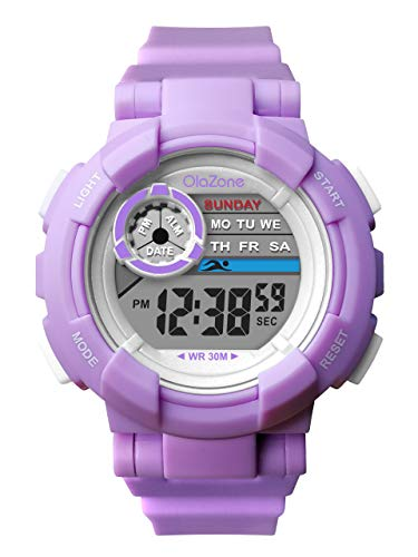 Kids Watch Girls Boys Digital Sports 7-Color Flashing Light Water Resistant 100FT Alarm Gifts for Girls Boys Age 5-10 481 (Purple)