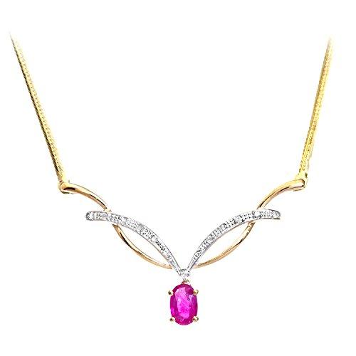 Revoni Bague en or jaune 9carats-Ruby-Collier Femme-diamant