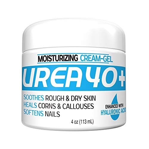 Urea 40 HA, 40% Urea Gel Plus Hyaluronic Acid, 4 oz Ultra-Moisturizing Callus Remover, Moisturizer for Cracked Dry Heels, Re-hydrates Thick, Rough, Dry Skin on Feet, Elbows, Hands, Superior to Creams