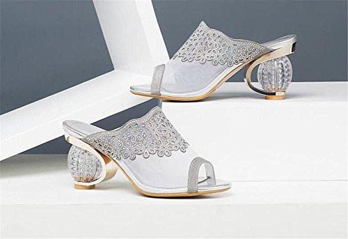 tacón grueso Grey de del mujeres abierto banquete Club cuero de para verano de de Sandalias zapatillas alto slingback talón YEEY HwxFXX