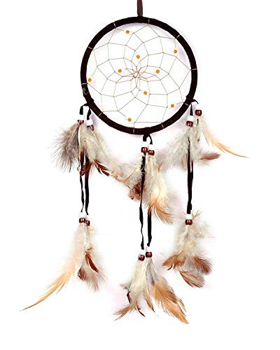 (Dream Catchers Handmade Feather Native American Dreamcatcher Circular Net for Men Boys Kids Bed Room Bedrooms Car Wall Hanging Decoration Decor Ornament Craft, Dia 4.33inch Length 18.9inch Brown)