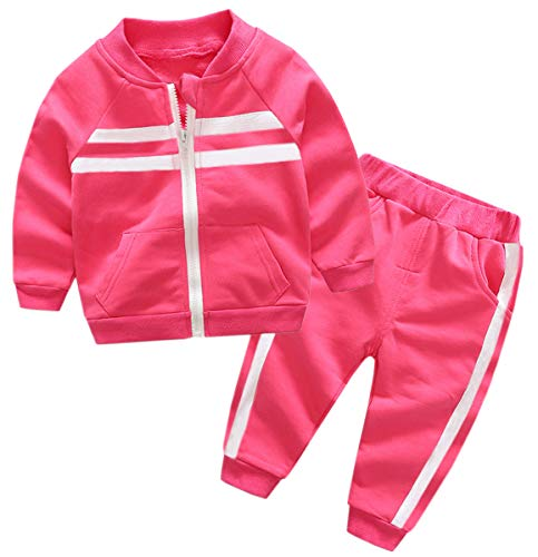Kids Outfit, Varsity Track Jacket with Stripes & Sports Jogger Sweat Pants Set Sweat Suit Tracksuit for Toddlers, Little Boy & Girls, Fuschia, Age 2T (2 Years) = Tag 5 -