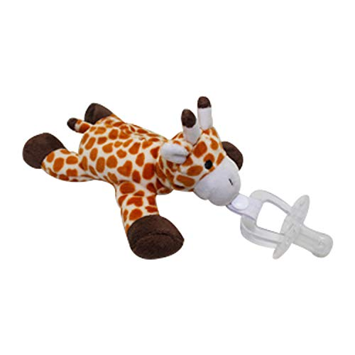 Wonkapalz Plush Giraffe Toy w/Detachable Pacifier for Babies (2-in-1) Cute Stuffed Animal Pacifier Holder, Silicone Binky | Quick Attach Teether for Home, Travel, Stroller Use | Girls and Boys