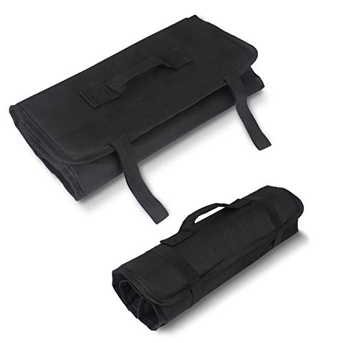 Tool Roll Up Bag by Extra-Perseverance - 22 Pockets Pouch Kit for for electricians, mechanics, handyman or any other professional (Black) by Extra-Perseverance