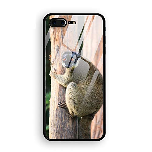 Brown Lemur iPhone7 Plus Case/iPhone 8 Plus Case with Anti- Scratch Tempered Glass Cover in -