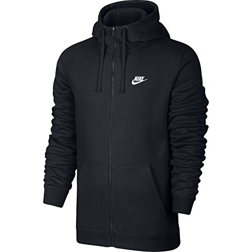 Italian Shirt Jacket - NIKE Sportswear Men's Full Zip Club Hoodie, Black/Black/White, X-Large