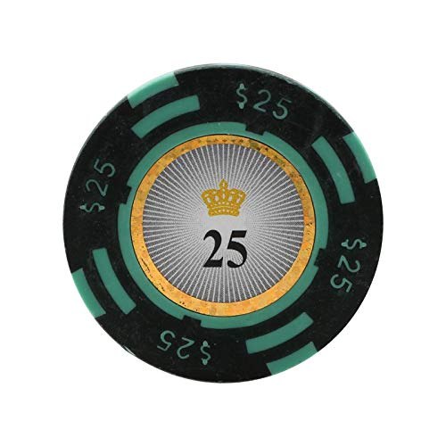 Versa Games Crown Casino Clay Poker Chips in 13.5g - 25 Piece (Green) ()