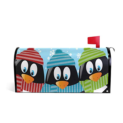 Cute Penguins Winter Welcome Large Magnetic Mailbox Cover Wr