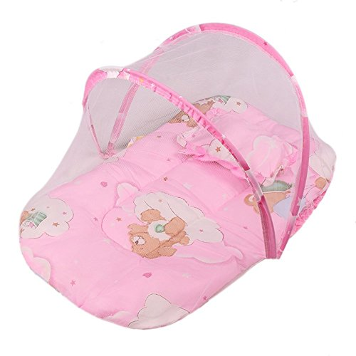 Candora 0-2 Years Baby Bed Portable Folding Travel Cot Crib Bed Canopy Mosquito Net Tent With Pillow (Pink) (Folding Travel Bassinet)