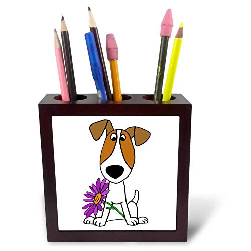 3dRose All Smiles Art - Pets - Cute Funny Jack Russell Terrier Puppy Dog with Daisy Flower - 5 inch Tile Pen Holder (ph_291135_1) -