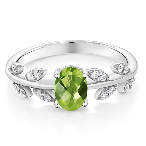 0.96 Ct Oval Checkerboard Peridot White Diamond 10K White Gold Olive Vine Ring (Available in size 5, 6, 7, 8, 9)