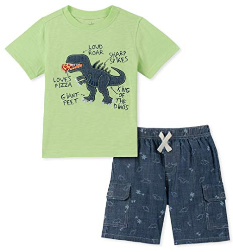 - Kids Headquarters Baby Boys 2 Pieces Shorts Set, Green/Chambray 18M
