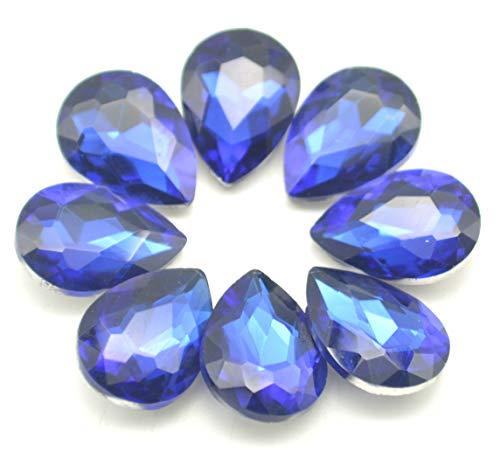 (Catotrem Mixed Color Teardrop Shape Sew on Glass Crystal Diamante Rhinestone Craft 50pcs, 13x18mm(Blue-50pcs))