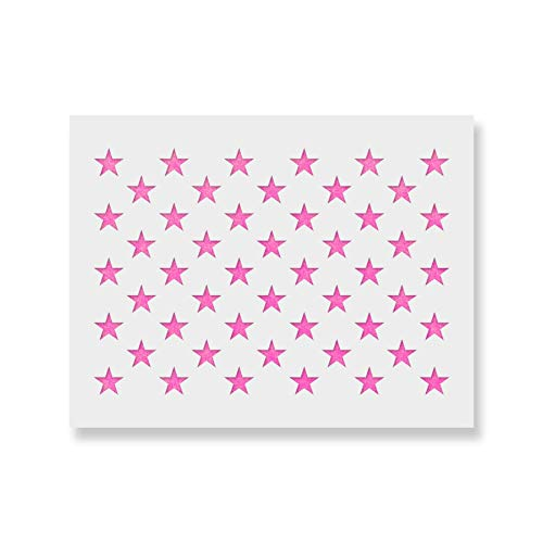 50 Stars Stencil Template - Reusable Stencil of American Flag 50 Stars in Official US Proportions (Actual dimensions 15.7 width x 10.9 height)