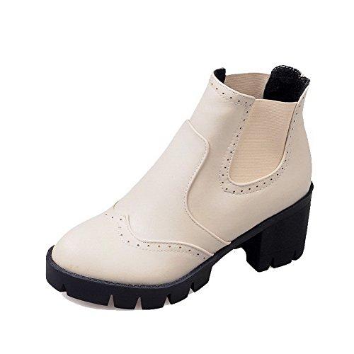 VogueZone009 Damen Ziehen auf PU Rund Zehe Hoher Absatz Rein Stiefel Cremefarben