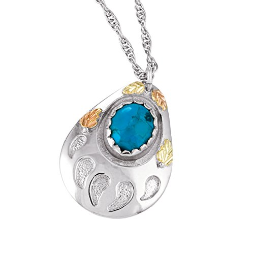 - Inlaid Turquoise Bear Paw Pendant Necklace, Sterling Silver, 12k Green and Rose Gold Black Hills Gold Motif, 18