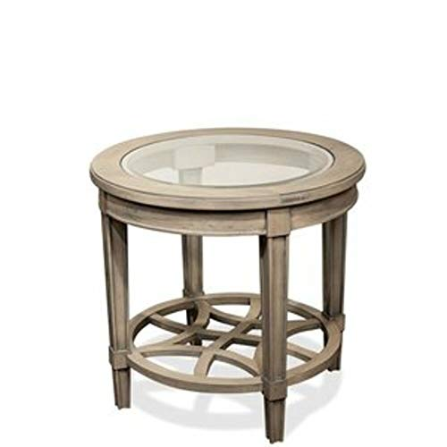 Darby Home Co Distressed Dove Gray End Table with Beveled Edge Glass Insert Top + Free Basic Design Concepts Expert -