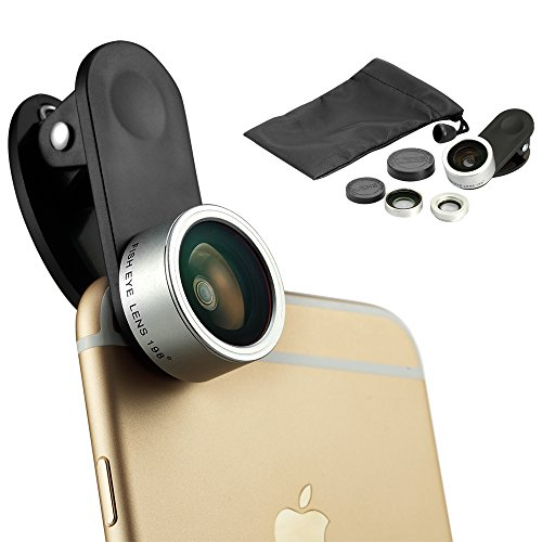 IPhone Lens Kapoo 3 in 1 Clip-on 198 Degree Supreme Fisheye Lens + 0.63X Wide Angle Lens + 15X Macro Lens for Iphone 6/ 6s/ 6 Plus, Samsung, Android and Other Smart phones (Silver) (Jelly Lens Iphone Filter compare prices)