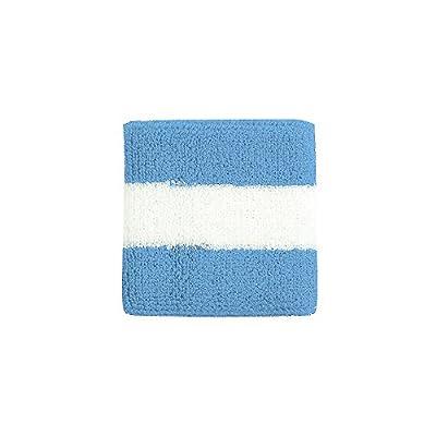 Striped Cotton Terry Cloth Moisture Wicking Wrist Band (Blue/White)
