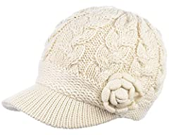BYOS Womens Winter Warm Fleece Lined Knitted Beret Beanie Hat Cap W/ Visor can be topped with many of the wither stylish looks. Soft and cozy fleece lining provides the extra warmth in cold winter snowy season. Beanie cap with curved peak for...