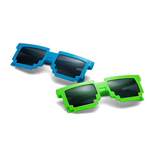 The Rager Glasses: Incredible Pixel Glasses. The Best 8 Bit Pixel Sunglasses of 2018. (Pacific Blue & Irish - Bit 8 Pixel Sunglasses